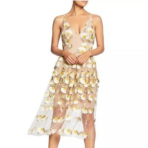 Floral Illusion Mesh Full Skirt Deep V Neck Dress